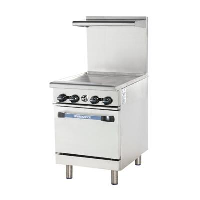 "Turbo Air TAR24 24"" Range with 24"" Thermostat Griddle, Heavy Gauge Welded Frame, Stainless Steel Construction, 1 Standard Oven, Individual Pilots, Full Size Crumb Tray and Adjustable Oven Thermostat:"