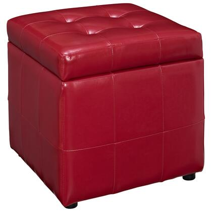 Modway EEI1044RED Volt Series Faux Leather Wood Frame Ottoman