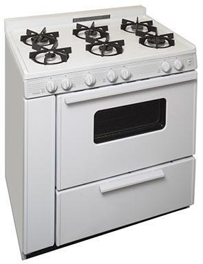 "Premier STK2X0OP 36"" Gas Freestanding Range with Sealed Burner Cooktop, Storage in White"