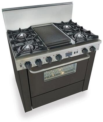 "FiveStar TPN3257 36"" Freestanding Dual Fuel-Liquid Propane Range With 4 Open Burners, 3.69 Cu. Ft. Convection Oven, Self-Cleaning, Vari-Flame Simmer On Front Burners, 240 Volts, 40 Amps, In"