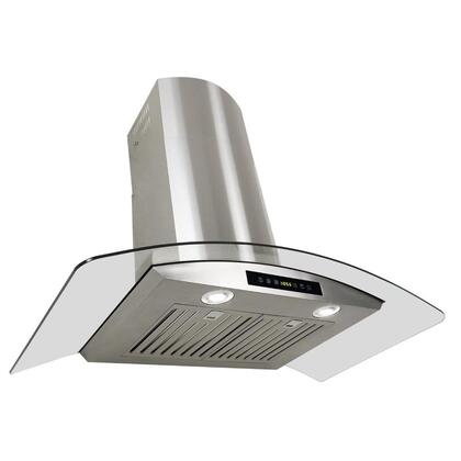 """Golden Vantage GWR73C30 30"""" Wall Mount Range Hood with 760 CFM, 65 dB, Innovative Touch, 2W LED Lighting, 3 Fan Speed, Stainless Steel Baffle Filter and X: Stainless Steel"""