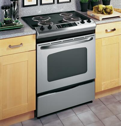 "GE JSP39SNSS 30"" Slide-in Electric Range with Coil Cooktop Storage 4.4 cu. ft. Primary Oven Capacity 