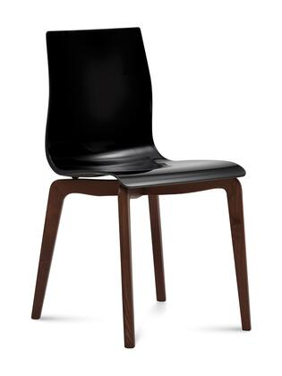 Domitalia GELSLSFCHSS Gel Dining Room Chair with Chocolate Ashwood Frame,  Tapered Legs and Acryl Nitrile Styrene Shell in