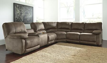 """Signature Design by Ashley Seamus 41800 130"""" Wide X Arm Loveseat Sectional Sofa with Storage Console, Cooling Cup Holders and Touch Control Pad with Heating and Massage Options in Taupe"""