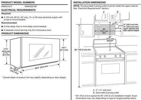 whirlpool dimenions guide