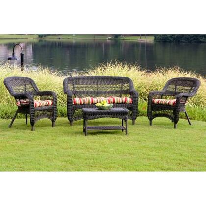 Tortuga PS4S Portside 4 Piece Seating Set With All-Weather Wicker, Durable Powder Coated Steel Frames & In