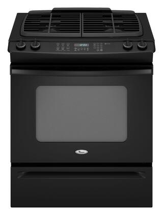 Whirlpool GW399LXUB Gold Series Slide-in Gas Range with Sealed Burner Cooktop, 4.5 cu. ft. Primary Oven Capacity, Storage in Black