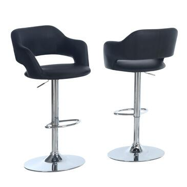 Monarch I 235 Adjustable Bar Stool, with Round Footrest, Hydraulic Lift System, and Chrome Finished Metal Frame, in Leatherette