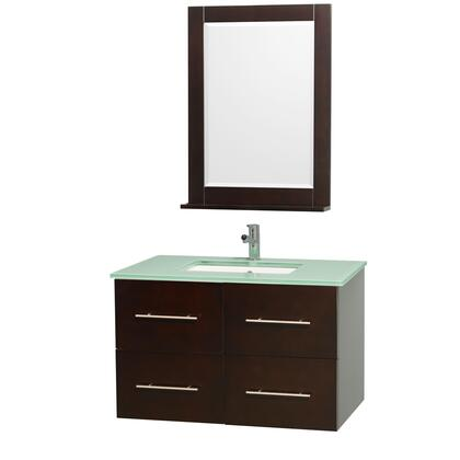 "Wyndham Collection WCV00936 36"" Single Wall Mount Vanity with Square Undermount Porcelain Sink, 2 Drawers, 2 Doors, and Includes Matching Mirror in"