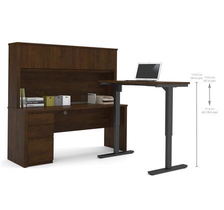 Bestar Furniture 99886 Prestige + L-Desk with Hutch including Electric Height Adjustable Table