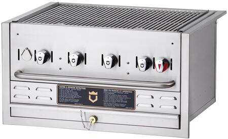 """Crown Verity BI-30 30"""" Built-In Grill with 4 Stainless Steel Burners, 304 Stainless Steel Grids, Water Pan, and 16 ga Stainless Steel Radiants, in Stainless Steel"""