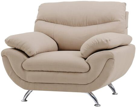Glory Furniture G437C Fabric Armchair with Metal Frame in Tan