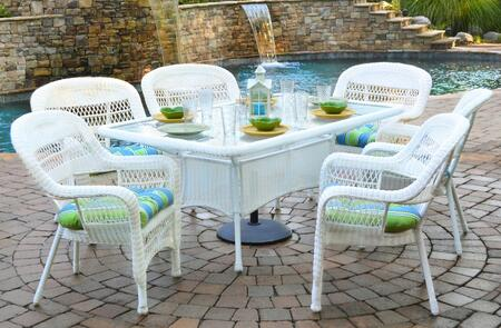 Tortuga Portside PSD-66-WH 7-Piece Dining Set with Dining Table, 6 Chairs, Wicker Construction and Tempered Glass Top in White with X Cushions