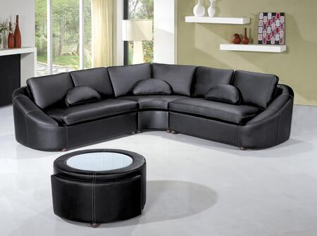 VIG Furniture Divani Casa Sectional Sofa with Coffee Table Included, Jumbo Stitching and Bonded Leather Upholstery in