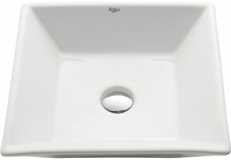 Kraus KCV125X White Ceramic Series Square Ceramic Vessel Sink with Included Pop-up Drain