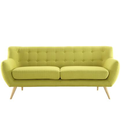 "Modway Remark 74"" Sofa with Natural Tapered Legs, Button Tufted Back and Fabric Upholstery in"