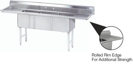 3 Compartment Sink   Right and Left Side Drainboard