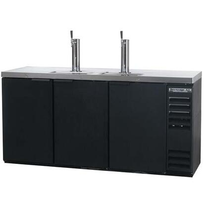 DD78R-1 Remote Direct Draw Beer Dispenser in [color], with 3 Self-closing Doors, 2 Tap Towers