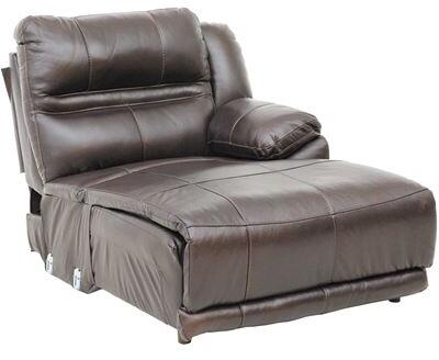 """Catnapper Bergamo Collection 43"""" Chaise with Contrast Luggage Stitching, Coil Seating Comfor-Gel, Top Grain Italian Leather and Leather Match Upholstery in Chocolate Color"""