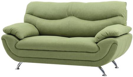 """Glory Furniture 67"""" Loveseat with Chrome Legs, Padded Arms, Medium Firm Seating and Fabric Upholstery in"""