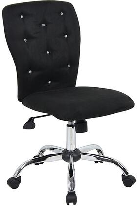 """Boss B220 36"""" Tiffany Chair with 25"""" Chrome Base, Upright Locking Position, Seat Height Adjustment, Adjustable Tilt Tension Control and Hooded Double Wheel Casters"""