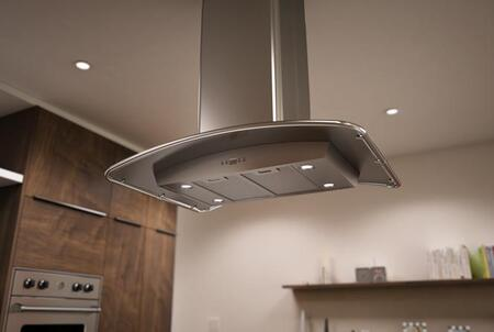 Zephyr ZML-XXXBS Essentials Europa Series Milano Island Mount Steel Canopy Range Hood with CFM Internal Blower, ACT Internal Blower, DCBL Suppression System and Bloom HD LED Lighting, in Stainless Steel
