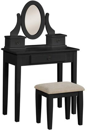 "Acme Furniture Jayle Collection 32"" Vanity Set with 1 Drawer Vanity, Fabric Seat Cushion Stool, 2 Drawer Oval Jewelry Mirror, Metal Hardware and Tapered Legs in"