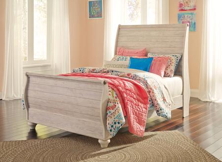 Milo Italia Jensen Collection BR-397SLEIGH X Size Sleigh Bed with Bun Feet, Distressed Detailing and PlankDesign on Headboard and Footboard in Whitewashed Color