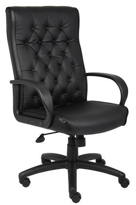 """Boss B8502 43"""" Executive Chair with Button Tufted Back Cushions, Upright Locking Position, Gas Lift Seat Height Adjustment, and Adjustable Tilt Tension Control in Black LeatherPlus Upholstery"""