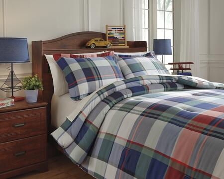 Signature Design by Ashley Mannan Q77300 PC Size Comforter Set includes 1 Comforter and Standard Sham with Plaid Design, 200 Thread Count and Cotton Material in Plaid Color