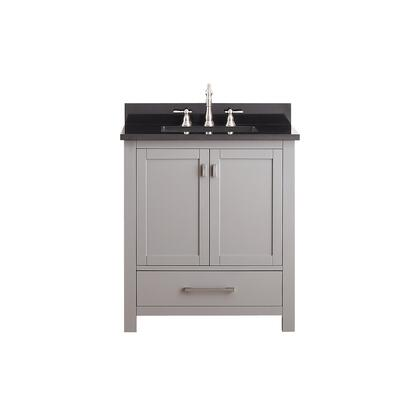Avanity MODERO-VS Modero Single Vanity with Top, Sink, Faucet Hole, Soft Closed Doors, Drawers, Brushed Nickel Hardware, Adjustable Height Levelers, Poplar Solid Wood and Plywood