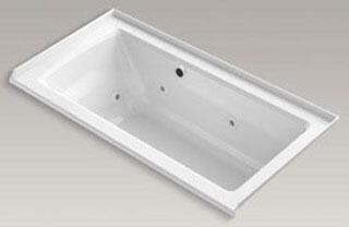 """Kohler K-1947-RW Archer 60"""" x 30"""" Alcove Whirlpool Bath Tub with Bask Heated Surface, Integral Flange and Right-Hand Drain in"""