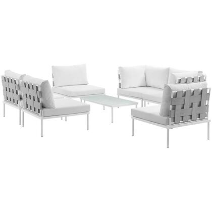 Modway Harmony Collection EEI-2617-WHI- 7-Piece Outdoor Patio Aluminum Sectional Sofa Set with 4 Armless Chairs, Coffee Table and 2 Corner Sofas in