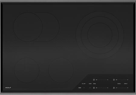 """Wolf CE304 30"""" Electric Cooktop With 4 Heating Elements, Ceran Ceramic Glass Surface, Pulsation Technology, True Simmer, Melt Settings, and Control Panel Lock: Black"""