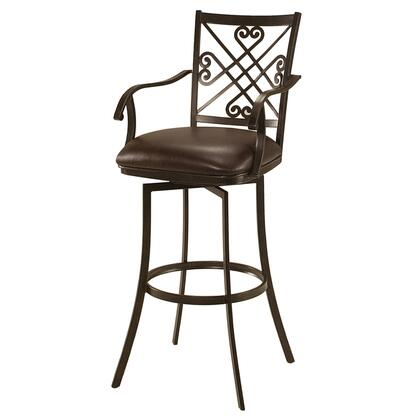 Pastel Furniture QLSV227 Savannah Bar Height Swivel Barstool with Arms in Brown