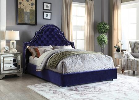 Meridian Madison MADISONNAVY-X Bed with Chrome Nailheads, Deep Tufting, Chrome Legs and Velvet Upholstery in Navy