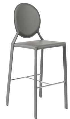 Euro Style 02482GRY Isabella Series Leather Upholstered Bar Stool