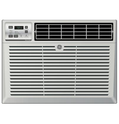 GE AEMxx Air Conditioner with x BTU Cooling Capacity, 3 Fan Speeds, EZ Mount Window Kit, Fixed Chassis, Electronic Digital Thermostat, and Delay Timer, in Light Cool Gray