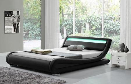 "Ladeso Edgewater Collection SF-808-X-B 91"" Bed with LED Lights, Low Profile, and Leatherette Upholstery in Black"
