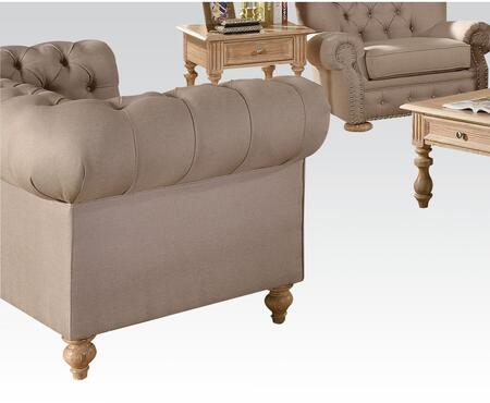 Acme Furniture 51306 Shantoria Series Linen Stationary with Wood Frame Loveseat