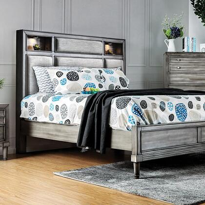 Furniture of America Daphne CM7556X Bed with Transitional Style, Padded Fabric Headboard, Built-in Touch Light in Headboard in Gray