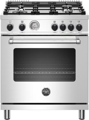 "Bertazzoni MAST304GASX 30"" Master Series Freestanding Gas Range with 4 Sealed Burners, 4.7 cu. ft. Oven Capacity, Dual Horizontal Convection Fans, Cast Iron Grates, in Stainless Steel"