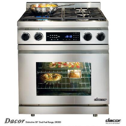 "Dacor Distinctive DR30DIXH 30"" Slide-In Pro-Style Dual Fuel Range with 4 Sealed Burners, 3.9 cu. ft., Pure Convection Oven, Self-Clean, Meat Probe and Touch Controls in Stainless Steel"