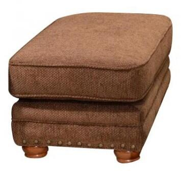 "Jackson Furniture Braddock Collection 4238-10- 32"" Ottoman with Nail Head Accents, Chenille Fabric Upholstery and Piped Stitching in"