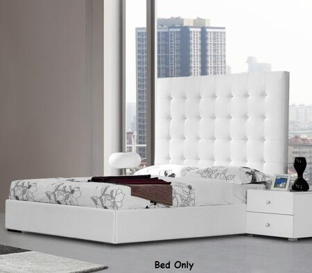 VIG Furniture VGJYLYRICA-WHT-S Modrest Lyrica - White Leatherette Tall Headboard Bed with Storage