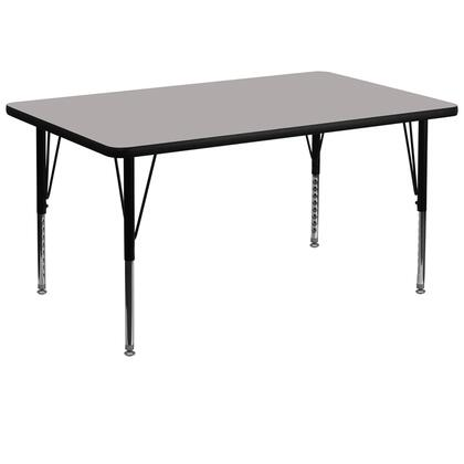 "Flash Furniture XU-A3672-REC-H-X-GG 36""W x 72""L Rectangular Activity Table with 1.25"" Thick High Pressure Laminate Top and Height Adjustable Pre-School Legs"