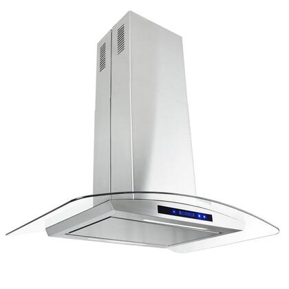 "Golden Vantage GIR0536P 36"" Island Mount Range Hood with 870 CFM, 65 dB, Innovative Touch, LED Lighting, 3 Fan Speed, Aluminum Grease Filter and X: Stainless Steel"