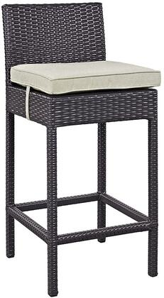 """Modway Convene Collection EEI-1006-EXP- 21"""" Outdoor Fabric Bar Stool with All-Weather Fabric Cushion, Synthetic Rattan Weave Material, Aluminum Frame, UV and Water Resistant in Espresso and"""
