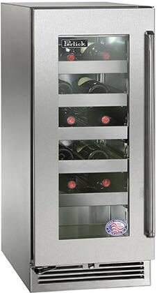 "Perlick HP15WS33xC 15"" Signature Series Wine Cooler with 20 Bottle Capacity, 5 Extension Pull-Out Wine Shelves, RAPIDcool System, Stainless Steel Shelf Fronts and Interior, in Stainless Steel Glass Door with"
