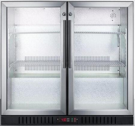 """Summit SCR7012 36"""" Commercially Listed Beverage Center with 7.4 cu. ft. Capacity, 2 Factory Installed Lock, Interior Lights, Automatic Defrost and 2 Glass Doors and Stainless Steel Trim"""